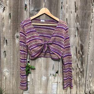 Vintage 90s purple stripe metallic tie front top